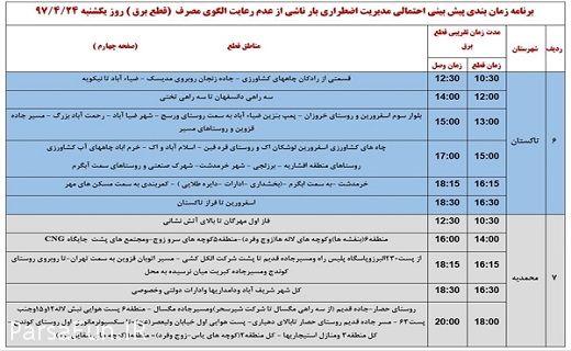 ساعت قطعی برق و زمانبندی مدیریت برق اضطراری استان قزوین